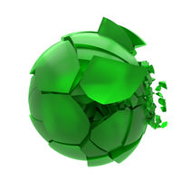broken cracked green glass ball by Siarhei Fedarenka