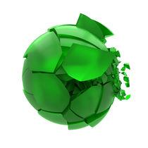 broken cracked green glass ball von Siarhei Fedarenka
