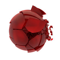 Broken-red-mat-glass-ball