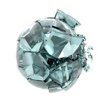 Broken-transparent-mat-glass-ball