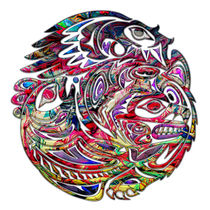 Abstract Eagle Bass and Bear Tribal Art by Blake Robson