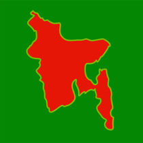 Map of Bangladesh with in flag colors  von Shawlin Mohd