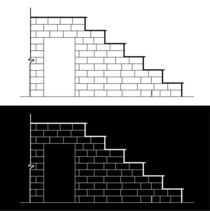Drawing of a brick stair with stone or marble slab  by Shawlin Mohd