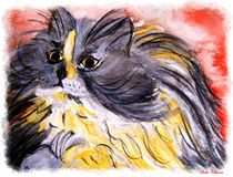 Watercolor Art Cat  by Sandra Vollmann