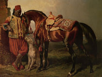 African Groom Holding a Stallion by Alfred de Dreux von Maria Hjerppe