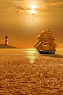 Goldene Abendstimmung auf dem Meer von Monika Juengling