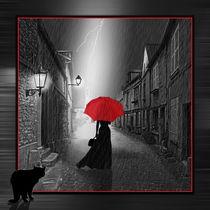 Die Frau mit dem roten Regenschirm Variante 2 gerahmt by Monika Juengling
