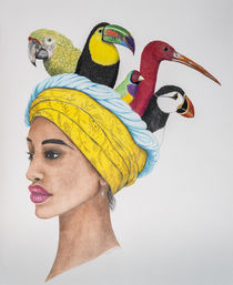 Portrait mit Turban by Angelika Wegner