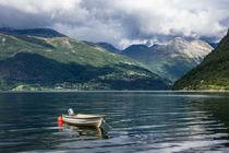 Ein Boot am Storfjord in Norwegen by Rico Ködder
