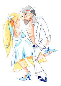 Tango Nuevo - Gancho Step - Dancing Illustration by nacasona