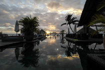 Sunset at a infinity pool - Seychelles island by stephiii