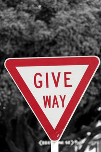 Road sign 'Give way' in New Zealand by stephiii