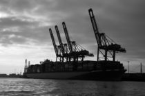 Cargo ship loaded with containers in the harbour of Hamburg by stephiii