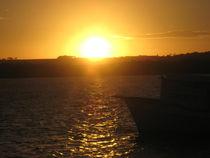 Boat in golden sunset by Ro Mokka