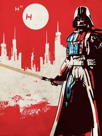 Vintage star wars movie inspired darth vader art print by Goldenplanet Prints