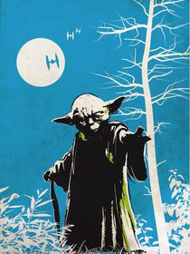 Vintage star wars movie inspired yoda art print by Goldenplanet Prints