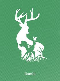 Bambi art movie inspired von Goldenplanet Prints