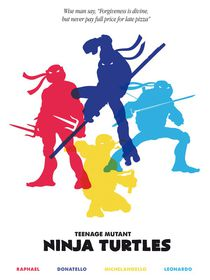 Ninja Turtles minimalist art movie inspired by Goldenplanet Prints