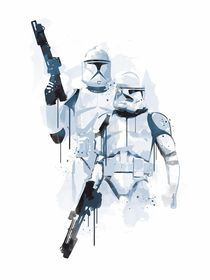 Stormtroopers watercolor style art print by Goldenplanet Prints