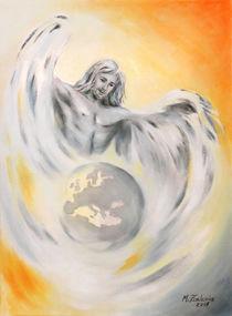 Schutzengel Weltfrieden - Erdenengel handgemalte Engelkunst by Marita Zacharias