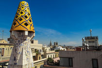 View from the top of palau guell of antoni gaudi in barcelona spain by stephiii