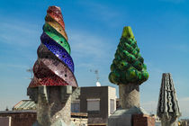 Chimneys of Palau Guell in Barcelona by stephiii