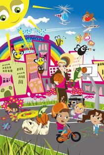 Kinderposter Spielplatz in der Stadt / children's poster city playground von sucre-fineart