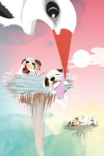Kinderposter Storchennest mit Babyhunden/ children's poster storknest with puppies by sucre-fineart