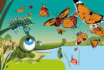Kinderposter Liebes Krokodil mit Schmetterlingen / children's poster lovely crocodile with butterflies von sucre-fineart