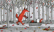 Fox and Cubs Walking in the Woods by Jennifer Lai