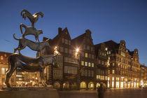 Deutschland, Bremen, Stadtmusikanten, Bremer, Abenddaemmerung, Daemmerung, Abends, Abend, Town Musiciants, Dusk, Evening von Torsten Krüger