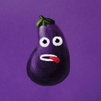 Funny Cartoon Eggplant by Boriana Giormova