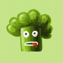 Funny Cartoon Broccoli by Boriana Giormova