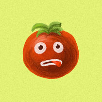 Funny Cartoon Tomato by Boriana Giormova