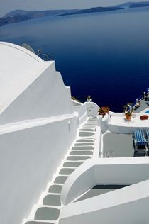 These lovely white steep stairs of Santorini.... by Yuri Hope