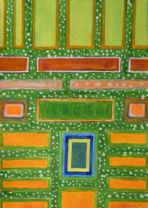 Filled Rectangles on Green Dotted Wall   von Heidi  Capitaine