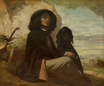 Courbet with his Black Dog von Gustave Courbet