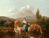 Holy family at a stream by Karel Dujardin