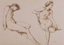 Sepia Drawing of Nude Woman by William Mulready