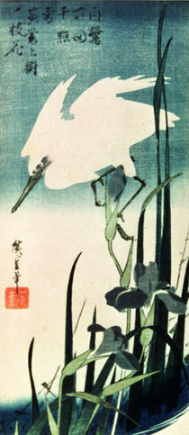 White Heron and Iris by Ando or Utagawa Hiroshige