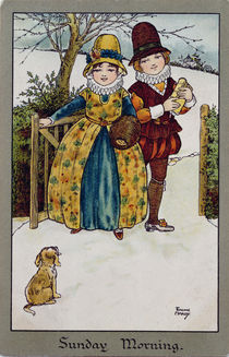 Sunday Morning, Victorian card by Florence Hardy