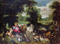 Adam and Eve with God in the Garden of Eden and the story of the Fall by Jan Brueghel the Elder