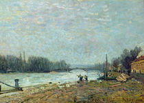 After the Thaw, the Seine at Suresnes Bridge by Alfred Sisley