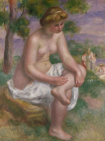 Seated Bather in a Landscape or von Pierre-Auguste Renoir