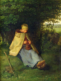 A Knitter or a Seated Shepherdess Knitting by Jean-Francois Millet