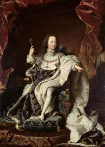 Portrait of Louis XV in Coronation Robes by Hyacinthe Francois Rigaud