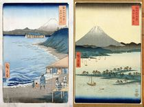 Mountains and coastline, two views from '36 Views of Mount Fuji' by Ando or Utagawa Hiroshige