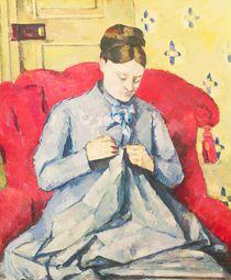 Madame Cezanne sewing by Paul Cezanne