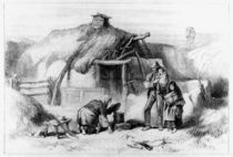 Bog-Trotters Cabin, from 'The Illustrated London News' 1879 by Irish school