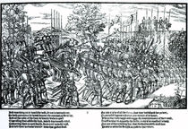 Sidney and the English army on the march with standards and trumpets by John Derricke